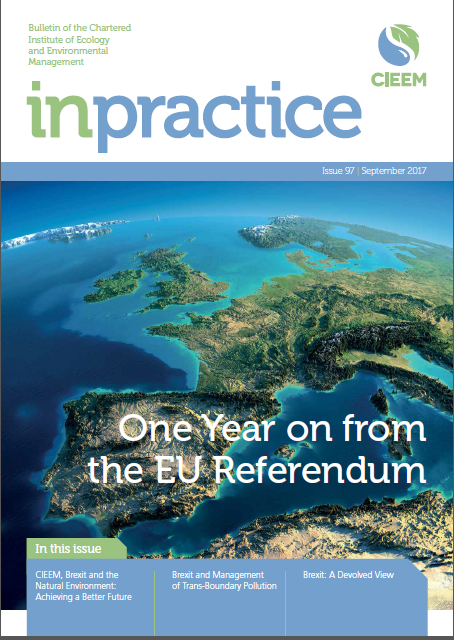 Article on Implications of Brexit for Devolved Environmental Law in Scotland Published in CIEEM In Practice